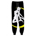 Hot Popular Comic Girl Sailor Moon Print Drawstring Waist Black Cotton Loose Sweatpants
