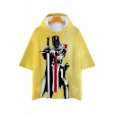 Knights Templar Cool Figure Printed Yellow Short Sleeve Hooded Loose T-Shirt