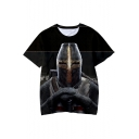 Knights Templar Cool Figure 3D Printed Short Sleeve Black T-Shirt