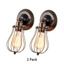 Pack of 2 Wire Caged Sconce Light Metal 1 Light Antique Style Wall Lamp for Living Room Cafe