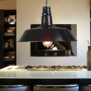 2 Pack 1 Light Pendant Lamp Barn Shade Antique Style Metal Ceiling Lighting in Black for Bar