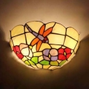 Tiffany Style Wall Light 2 Lights Stained Glass Dragonfly Flower Pattern Sconce Light for Restaurant