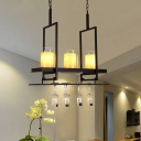 Modern Cylinder Shape Linear Chandelier Metal Glass 3/5 Lights Black Hanging Light with Bottle Decoration