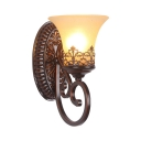 Vintage Style Rust Wall Lamp with Bell Shade 1/2 Lights Glass Metal Sconce Light for Hotel Dining Room