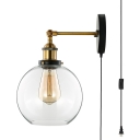 Clear Glass Globe Wall Light with Plug In Cord 1 Light Industrial Sconce Light in Black for Study Living Room