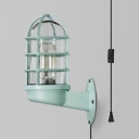 1 Light Plug In Sconce Lamp Caged Industrial Metal Glass Wall Light in Green for Bar Coffee Shop