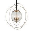 Living Room Globe Shade Chandelier Metal Clear Glass 3 Lights Classic Gold Ceiling Lamp
