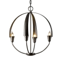 Traditional Globe Shape Chandelier 4 Lights Metal Hanging Light in White/Black for Living Room Restaurant