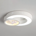 Metal Acrylic LED Overhead Light White Round Ceiling Mount Light with Beautiful Star Pattern for Kindergarten
