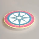 Kindergarten Compass Shape Overhead Light Lovely Pink and Blue LED Flush Mount Light in Warm