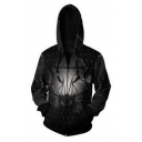 New Stylish 3D Wolf Head Logo Printed Black Long Sleeve Zip Up Hoodie