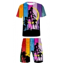 Stylish Comic Girl Sailor Moon Colorblock Striped Unisex Two-Piece Set
