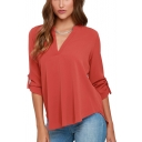 Women's Basic Simple Plain Long Sleeve V-Neck Casual Chiffon Blouse Top