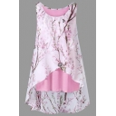 Summer Round Neck Sleeveless Chic Flower Printed High Low Hem Chiffon Tank Top