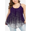 Women's Plus Size Transparent Mesh Round Neck Sleeveless Lace Cami Top