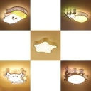 Acrylic Flush Mount Light with 5 Pattern Choice Third Gear Lovely Ceiling Light for Child Room