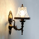 Antique Style Tapered Sconce Light 1 Light Metal and Glass Wall Lamp for Bedroom Foyer