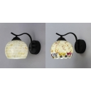 Shell and Glass Sconce Light 1 Light Mosaic Wall Sconce in White/Multi Color for Hotel Restaurant