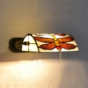 Dragonfly Sconce Lamp Living Room Metal and Stained Glass Rustic Style Bankers Lamp with/without Pull Chain