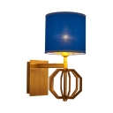 Study Living Room Wall Light Fabric and Metal 1 Light Traditional Blue Drum Shade Wall Lamp