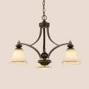 Down Lighting Suspension Light 3/5/6/8 Lights Antique Style Metal Glass Chandelier for Dining Room