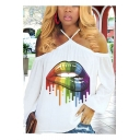 Street Fashion Cool Colorful Oil Painting Rainbow Lip Print Cold Shoulder Long Sleeve White Tee for Women