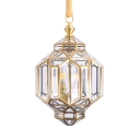 Living Room Candle Chandelier with Polyhedron Shade Metal and Clear Glass 4 Lights Traditional Style Hanging Light