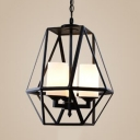 Metal and Glass Pendant Light Living Room 3/4 Lights Industrial Style Chandelier in Black