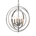 Metal Candle Shape Chandelier Dining Room 4 Lights Traditional Hanging Light in Nickle/Bronze