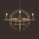 8 Lights Globe Chandelier Vintage Style Metal Pendant Lighting for Coffee Shop Restaurant