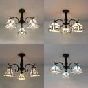 Stained Glass Semi Flush Mount Light Tiffany Style Tapered Ceiling Light for Restaurant
