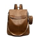 Trendy Solid Color PU Leather Casual Shoulder Bag Backpack 32*15*37 CM