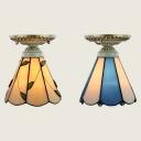 Restaurant Cone Flush Mount Light Glass 1 Light Tiffany Style Blue/Beige Ceiling Light
