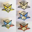 Stained Glass Star Semi Flush Mount Light Mediterranean Style Ceiling Lamp for Shop