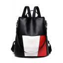 Glamorous Color Block Multipurpose Black PU Leather Shoulder Bag Backpack 31*15*34 CM