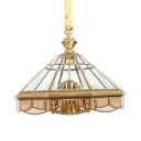 Traditional Cone Pendant Light 6 Lights Glass and Metal Chandelier Light for Hotel Restaurant