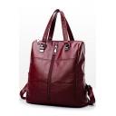 Ladies Elegant Plain Zipper Front PU Leather Tote Casual Backpack 28*15*28 CM
