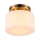 Simple Style Drum Ceiling Fixture 1 Light Frosted Glass Flush Ceiling Light for Shop