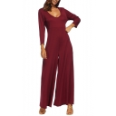 New Trendy Solid Color Hooded Long Sleeve V-Neck Loose Wide Leg Jumpsuits