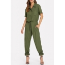 Army Green Simple Plain Button Front V-Neck Short Sleeve Drawstring Waist Casual Shirt Jumpsuits
