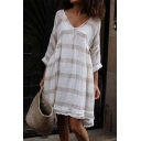 Hot Fashion Striped Printed V-Neck Long Sleeve Soft Linen Casual Loose Dress
