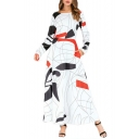 Women's Hot Fashion Round Neck White Geometric Printed Long Sleeve Maxi Swing Dress With Pockets