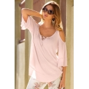 Womens Simple Solid Color Tied Round Neck Cold Shoulder Loose Relaxed T-Shirt