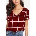 Women 's Hot Fashion V-Neck Short Sleeve Button Detail Plaid T-Shirt