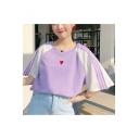 Lovely Heart Print Color Block Raglan Short Sleeve Round Neck T-Shirt For Girls