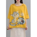 New Trendy Cartoon Cat Letter Printed Half Sleeve Round Neck Cutout Cotton Graphic Tee