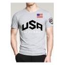 Summer New Stylish USA Flag Printed Basic Short Sleeve Classic Fit T-Shirt