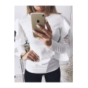 Women's Hot Sale Plain Round Neck Ruffle Lace Long Sleeve Slim T-Shirt