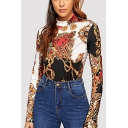Ethnic Style Tribal Printed Mock neck Long Sleeve Slim Fit T-Shirt For Women