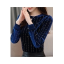 Womens New Style Stripe Star Printed Cut Out Round Neck Long Sleeve Pleuche Velvet Tee